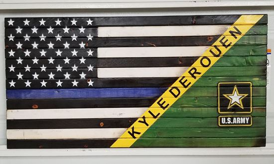 Rustic Wooden Army/Thin Blue Line Flag