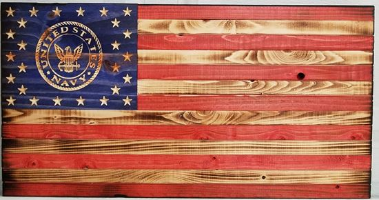 Carved Rustic Wooden Navy Flag