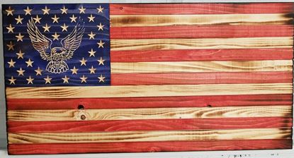 Carved Rustic Wooden Eagle Flag
