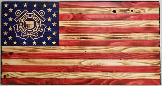 Carved Rustic Wooden Coast Guard Flag