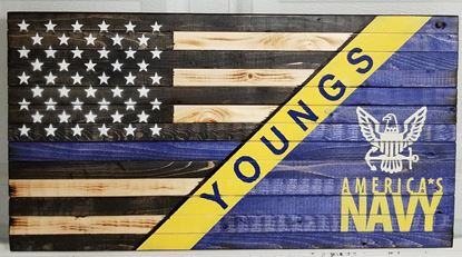Rustic Wooden Navy/Thin Blue Line Flag
