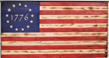 Carved colonial 1776 flag