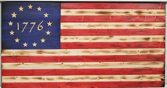 Carved Rustic Wooden Colonial 1776 Flag