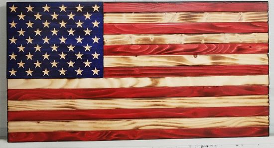 Rustic Wooden American Red, Wood, and Blue Flag
