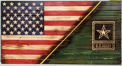 Army wooden flag with carved Army logo in green field