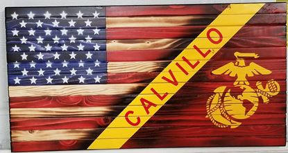 Rustic Wooden Marine Corps Flag