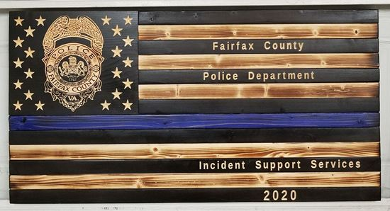 Rustic Wooden Thin Blue Line Police Flag with carved badge and text