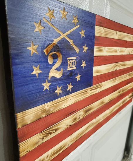 Picture of Carved Second Amendment Support Flag