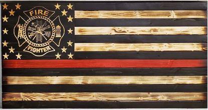 Wooden firefighter flag