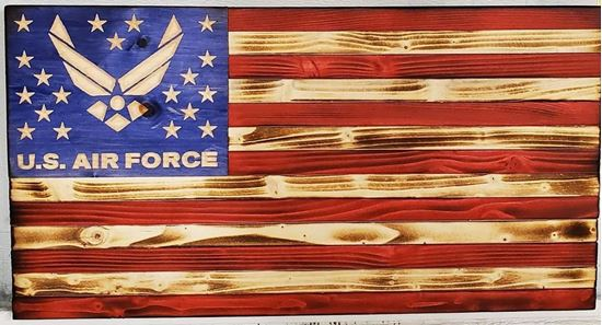 Wooden American flag with AF logo in stars