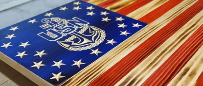 Picture of Carved Navy Flag