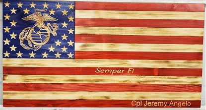 Carved Rustic Wooden Marine Corps Flag