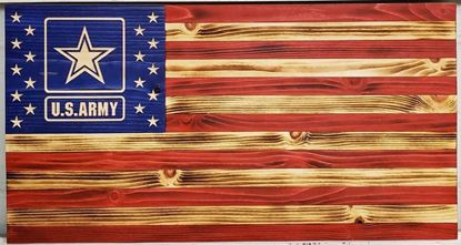 Carved Wooden Army Flag