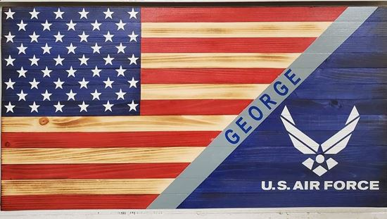 Personalized Air Force Rustic Flag